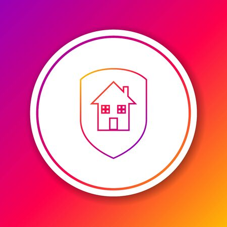 Color House under protection line icon isolated on color background. Home and shield. Protection, safety, security, protect, defense concept. Circle white button. Vector Illustration