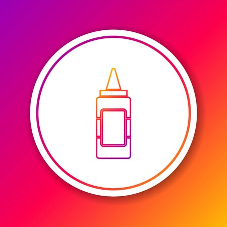 Color Mustard bottle line icon isolated on color background. Circle white button. Vector Illustration Illustration