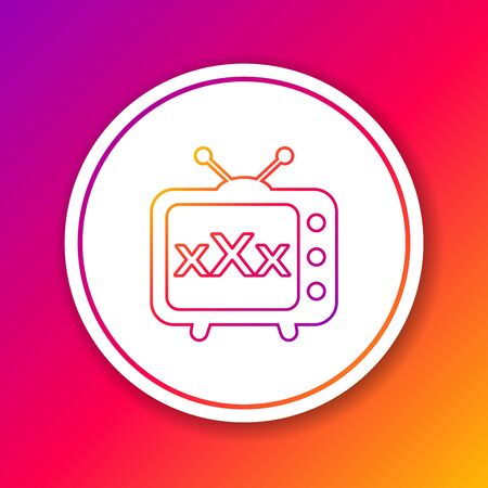 Color line XXX tv old television icon isolated on color background. Age restriction symbol. 18 plus content sign. Adult channel. Circle white button. Vector Illustration