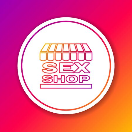 Color line Sex shop building with striped awning icon isolated on color background. Sex shop, online sex store, adult erotic products concept. Circle white button. Vector Illustration