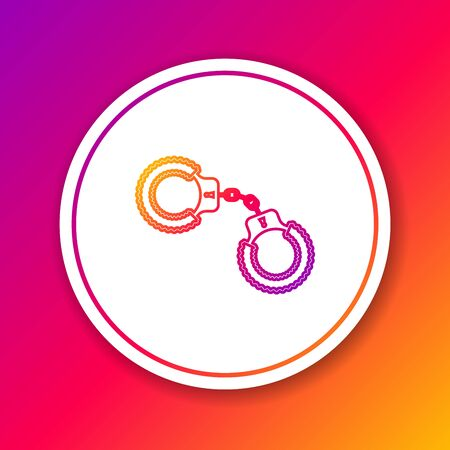 Color line Sexy fluffy handcuffs icon isolated on color background. Handcuffs with fur. Fetish accessory. Sex shop stuff for sadist and masochist. Circle white button. Vector Illustration