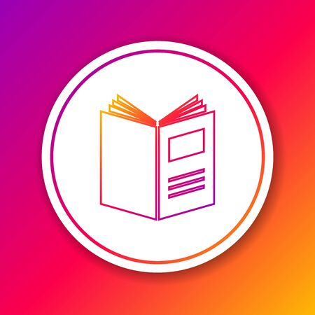 Color line Open book icon isolated on color background. Circle white button. Vector Illustration