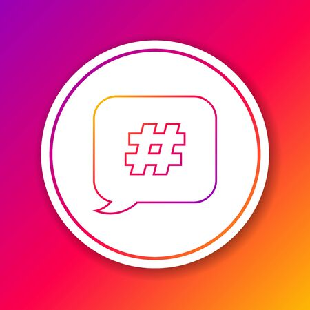 Color line Hashtag speech bubble icon isolated on color background. Concept of number sign, social media marketing, micro blogging. Circle white button. Vector Illustration