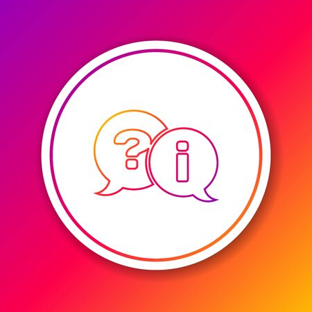 Color line Speech bubbles with Question and Exclamation icon isolated on color background. FAQ sign. Copy files, chat speech bubble and chart. Circle white button. Vector Illustration Zdjęcie Seryjne - 125165085