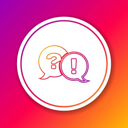 Color line Speech bubbles with Question and Exclamation icon isolated on color background. FAQ sign. Copy files, chat speech bubble and chart. Circle white button. Vector Illustration