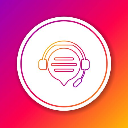 Color line Headphones with speech bubble chat icon isolated on color background. Support customer service, hotline, call center, faq, maintenance. Circle white button. Vector Illustration Illustration
