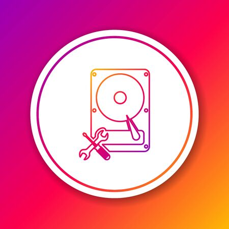 Color line Hard disk drive with screwdriver and wrench icon isolated on color background. Adjusting, service, setting, maintenance, repair, fixing. Circle white button. Vector Illustration