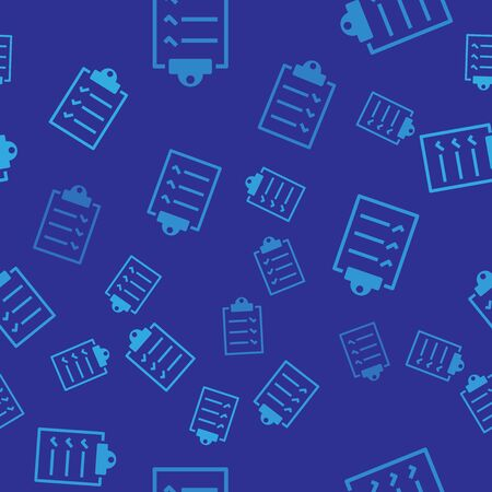 Blue Clipboard with checklist icon isolated seamless pattern on blue background. Vector Illustration Ilustração