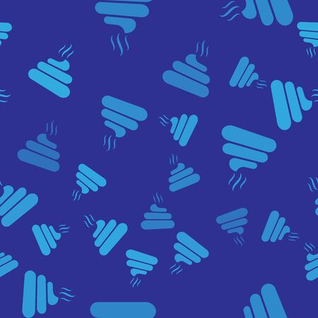 Blue Shit icon isolated seamless pattern on blue background. Vector Illustration