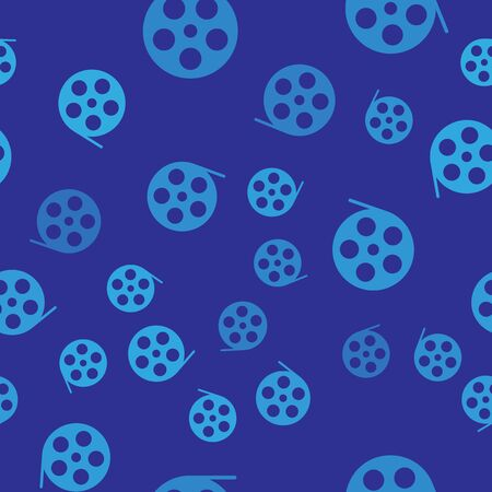 Blue Film reel icon isolated seamless pattern on blue background. Vector Illustration