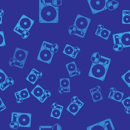 Blue Hard disk drive HDD protection icon isolated seamless pattern on blue background. Vector Illustration Illustration