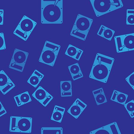 Blue Hard disk drive HDD icon isolated seamless pattern on blue background. Vector Illustration
