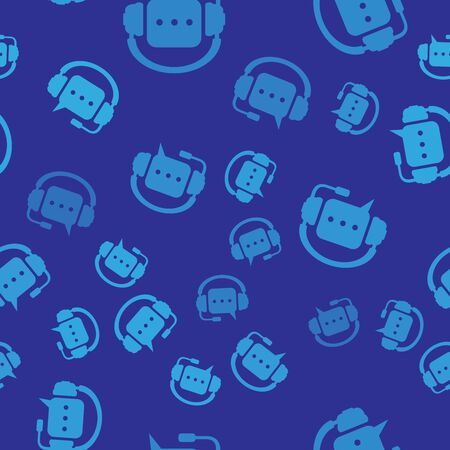 Blue Headphones with speech bubble icon seamless pattern on blue background. Support customer services, hotline, call center, guideline, faq, maintenance, assistance. Vector Illustration