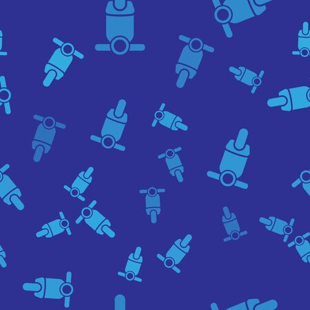 Blue Scooter icon isolated seamless pattern on blue background. Vector Illustration