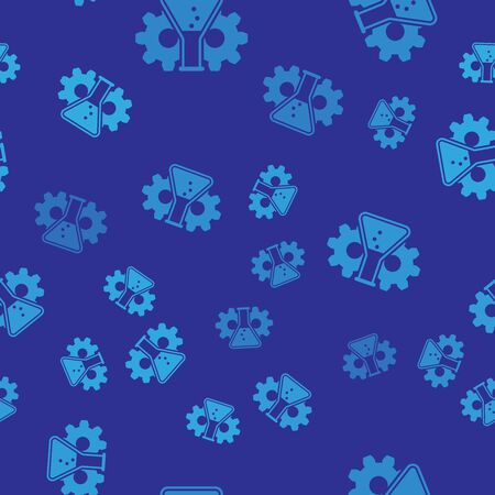 Blue Bioengineering icon isolated seamless pattern on blue background. Element of genetics and bioengineering icon. Biology, molecule, chemical icon. Vector Illustration Vettoriali