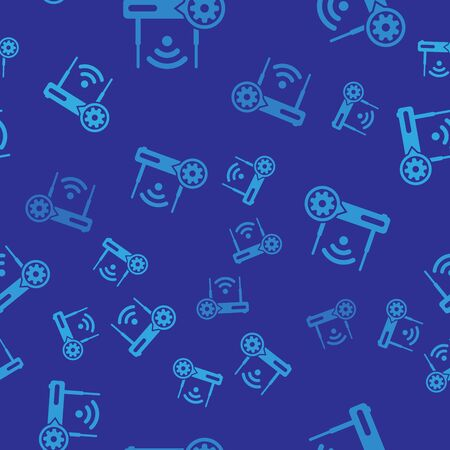 Blue Router and wifi signal and gear icon isolated seamless pattern on blue background. Adjusting app, service concept, setting options, maintenance, repair, fixing. Vector Illustration