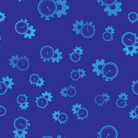Blue Time Management icon isolated seamless pattern on blue background. Clock and gear sign. Productivity symbol. Vector Illustration Illustration