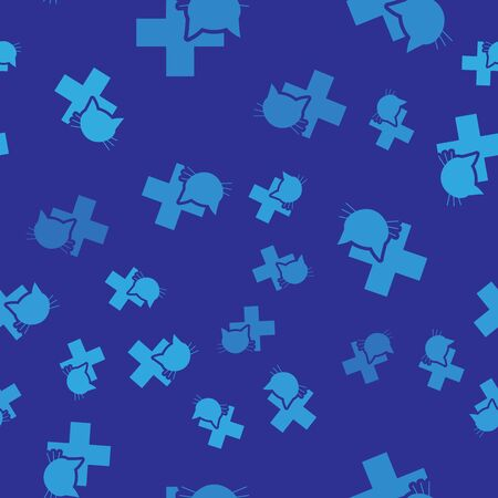 Blue Veterinary clinic symbol icon isolated seamless pattern on blue background. Cross with cat veterinary care. Pet First Aid sign. Vector Illustration Illustration