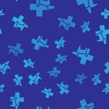 Blue Veterinary clinic symbol icon isolated seamless pattern on blue background. Cross with dog veterinary care. Pet First Aid sign. Vector Illustration