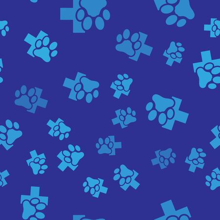 Blue Veterinary clinic symbol icon isolated seamless pattern on blue background. Cross hospital sign. A stylized paw print dog or cat. Pet First Aid sign. Vector Illustration