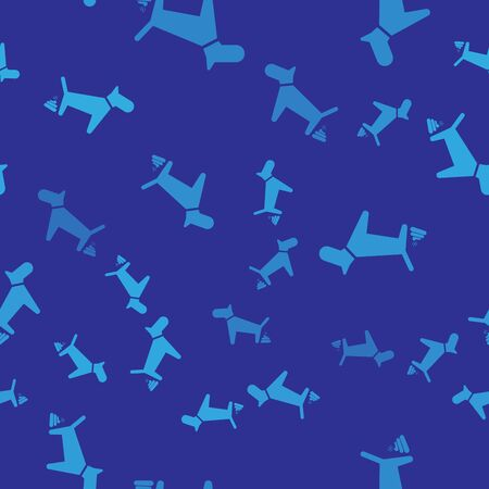 Blue Dog pooping icon isolated seamless pattern on blue background. Dog goes to the toilet. Dog defecates. The concept of place for walking pets. Vector Illustration