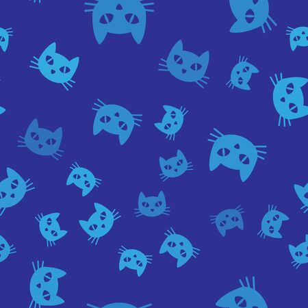 Blue Cat icon isolated seamless pattern on blue background. Vector Illustration
