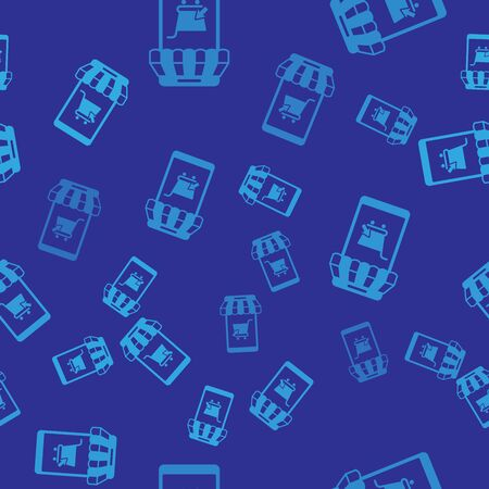 Blue Mobile phone and shopping cart with striped awning icon isolated seamless pattern on blue background. Online buying symbol. Supermarket basket symbol. Vector Illustration  イラスト・ベクター素材