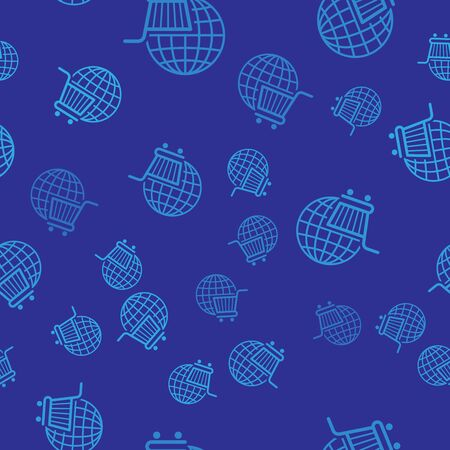Blue Shopping cart with globe icon isolated seamless pattern on blue background. Online buying concept. Global market concept. Supermarket basket symbol. Vector Illustration