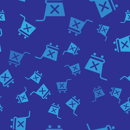 Blue Remove shopping cart icon isolated seamless pattern on blue background. Online buying concept. Delivery service sign. Supermarket basket and X mark symbol. Vector Illustration  イラスト・ベクター素材