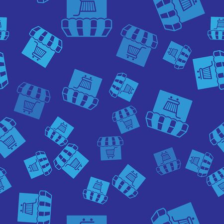 Blue Shopping building or market store with shopping cart icon isolated seamless pattern on blue background. Shop construction. Supermarket basket symbol. Vector Illustration Illustration