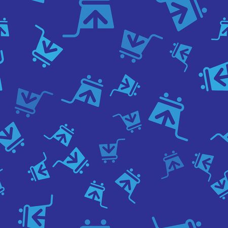 Blue Add to Shopping cart icon isolated seamless pattern on blue background. Online buying concept. Delivery service sign. Supermarket basket symbol. Vector Illustration