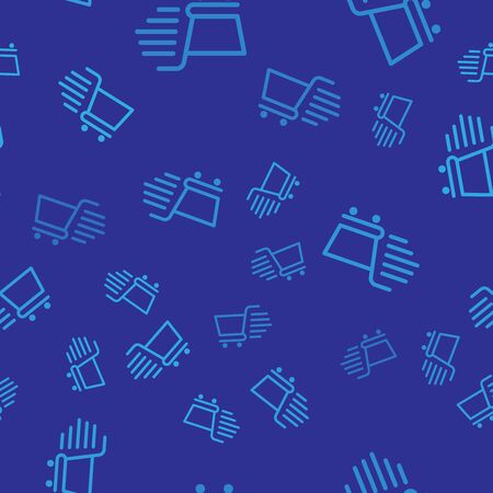 Blue Shopping cart icon isolated seamless pattern on blue background. Online buying concept. Delivery service sign. Supermarket basket symbol. Vector Illustration