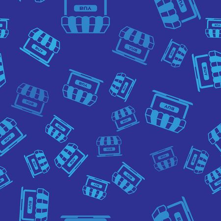 Blue Online shopping concept. Buy on screen laptop icon isolated seamless pattern on blue background. Concept e-commerce, e-business, online business marketing. Vector Illustration