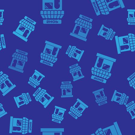 Blue Shopping building or market store icon isolated seamless pattern on blue background. Shop construction. Vector Illustration