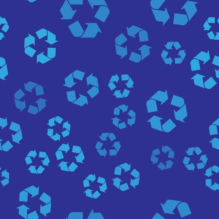 Blue Recycle symbol icon isolated seamless pattern on blue background. Circular arrow icon. Environment recyclable go green. Vector Illustration