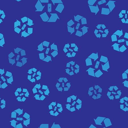 Blue Battery with recycle symbol line icon isolated seamless pattern on blue background. Battery with recycling symbol - renewable energy concept. Vector Illustration Illustration