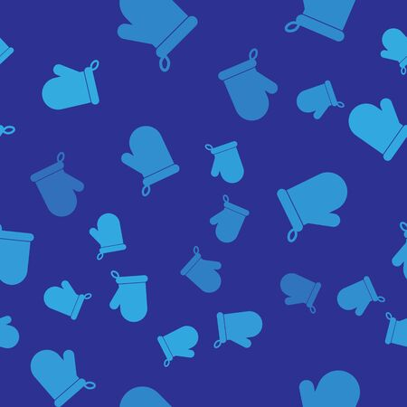 Blue Oven glove icon isolated seamless pattern on blue background. Kitchen potholder sign. Cooking glove. Vector Illustration Illustration