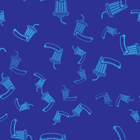 Blue Soda and hotdog icon isolated seamless pattern on blue background. Fast food symbol. Vector Illustration Stockfoto - 125246962