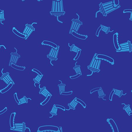 Blue Soda and hotdog icon isolated seamless pattern on blue background. Fast food symbol. Vector Illustration