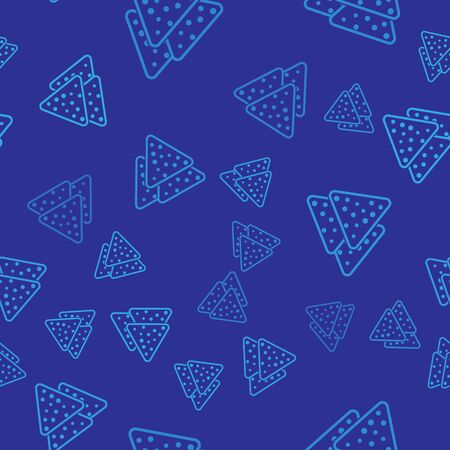 Blue Nachos icon isolated seamless pattern on blue background. Tortilla chips or nachos tortillas. Traditional mexican fast food. Vector Illustration