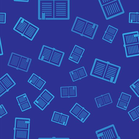 Blue Open book icon isolated seamless pattern on blue background. Vector Illustration Zdjęcie Seryjne - 125247326