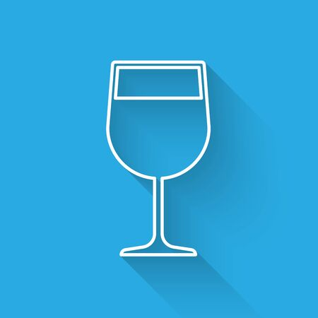White Wine glass icon isolated with long shadow. Wineglass icon. Goblet symbol. Glassware sign. Vector Illustration 일러스트