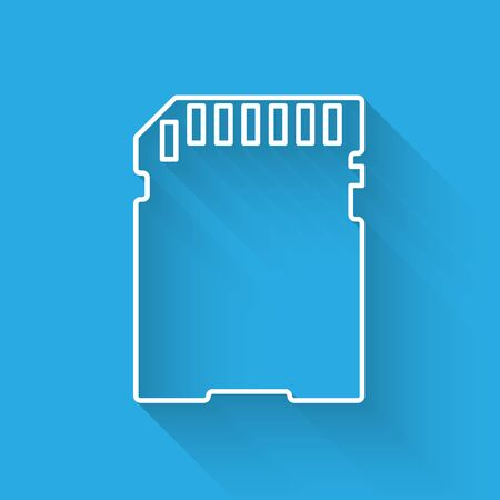 White SD card icon isolated with long shadow. Memory card. Adapter icon. Vector Illustration