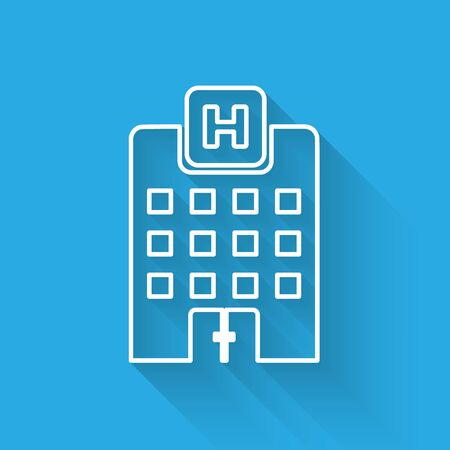 White Medical hospital building with cross icon isolated with long shadow. Medical center. Health care. Vector Illustration