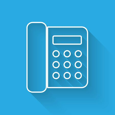 White Telephone icon isolated with long shadow. Landline phone. Vector Illustration