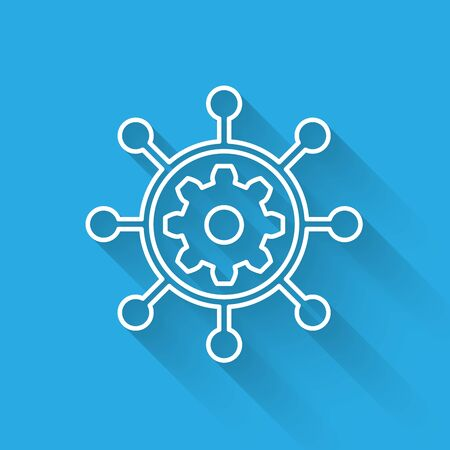 White Project management icon isolated with long shadow. Hub and spokes and gear solid icon. Vector Illustration