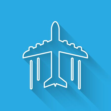 White Plane icon isolated with long shadow. Flying airplane icon. Airliner sign. Vector Illustration