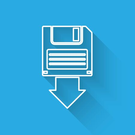 White Floppy disk backup icon isolated with long shadow. Diskette sign. Vector Illustration