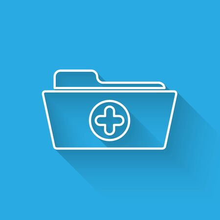 White Medical health record folder for healthcare line icon isolated with long shadow. Patient file icon. Medical history symbol. Vector Illustration