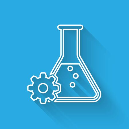 White Bioengineering line icon isolated with long shadow. Element of genetics and bioengineering icon. Biology, molecule, chemical icon. Vector Illustration Illustration
